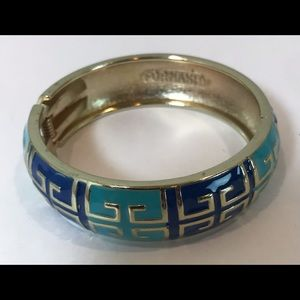 Fornash Grecian Enamel Hinged Bangle Bracelet